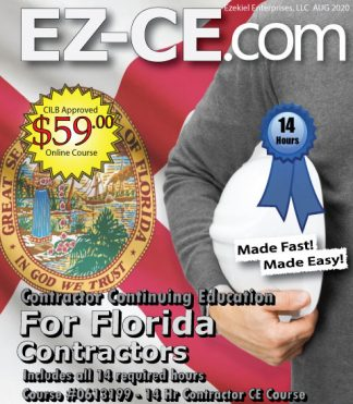 EZ-CE.com $59 Florida 14 hr contractor continuing education course cover page