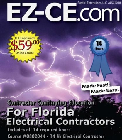 EZ-CE.com $59 Florida 14 hr electrical contractor continuing education course cover page