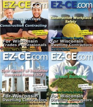 EZ-CE.com $72 Wisconsin 12 hr contractor continuing education course package cover page